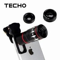 Techo Универсальный 4 в 1 клип 10x телескопа рыбий глаз Широкий Ангел Макрос линзы для iPhone 6 S 7 7 плюс Samsung S8 S8 + S7 телефон