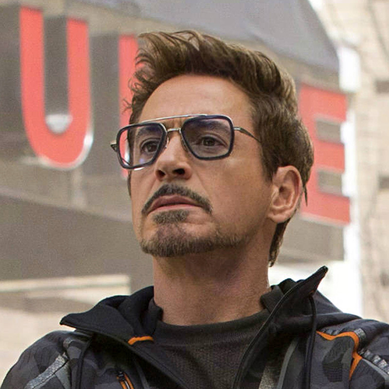 NEW Fashion Avengers Tony Stark Flight Style Man Sunglasses Luxury Brand  Rectangle Vintage Superhero Sun Glasses Clear For Men