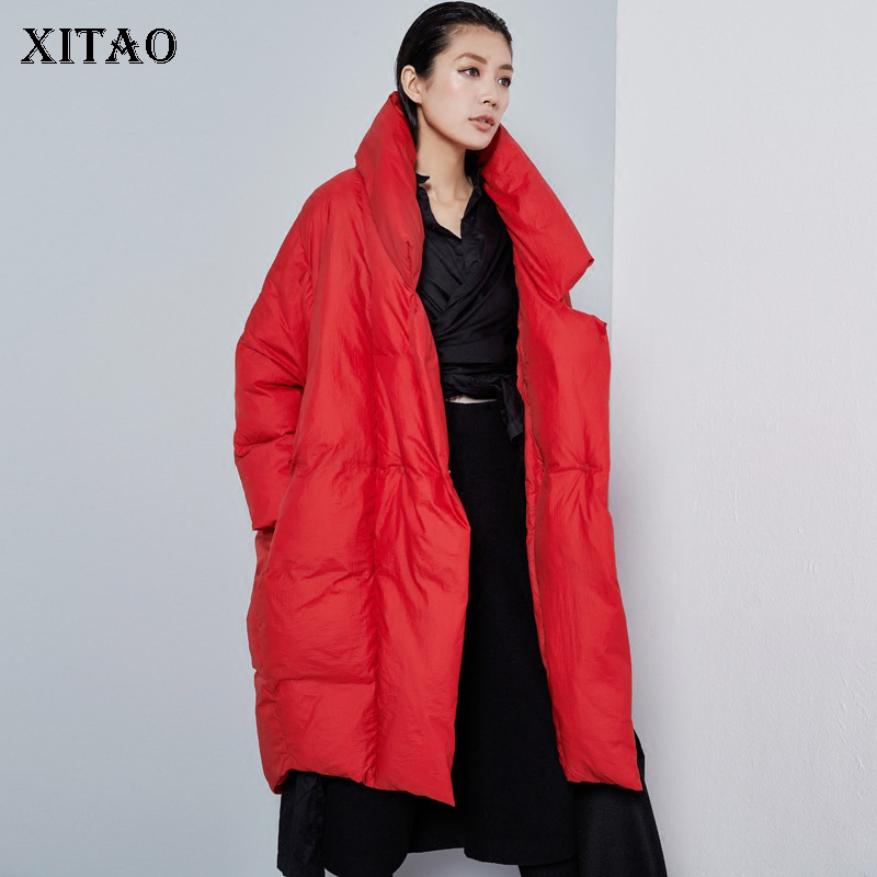[XITAO] Women 2018 Autumn Europe Fashion Covered Button White Duck   Down   Solid Color Loose Pocket Wide-waisted   Down     Coat   LJT4319