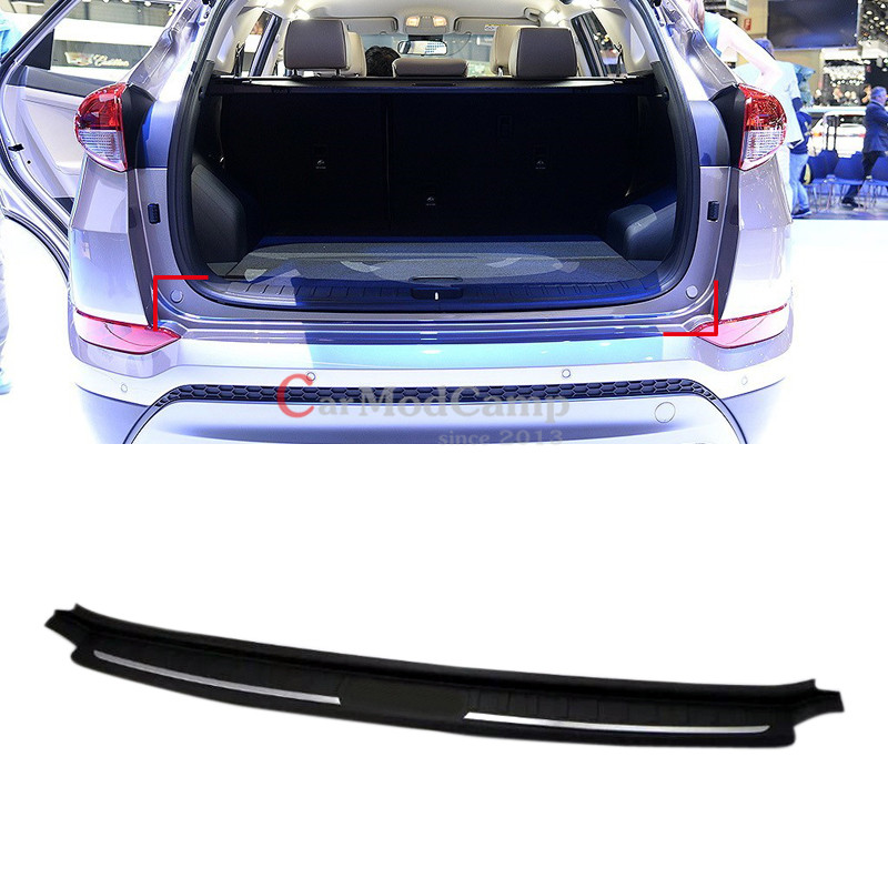 black abs plastic rear bumper protector guard sill 1pcs for hyundai tucson 2016 2017 car. Black Bedroom Furniture Sets. Home Design Ideas