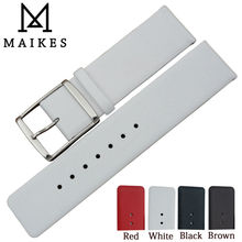 MAIKES 16mm 18mm 20mm 22mm Genuine Leather Watch Band High Quality Thin White Watch Strap цена