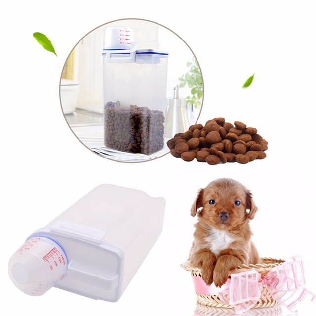 Pet Food Storage Container Dog Cat Pet Dry Food Dispenser With Cup