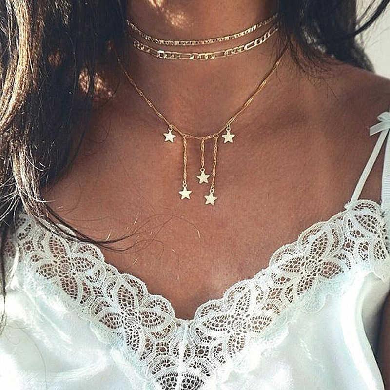 جديد الأزياء ليف ستار قذيفة شكل الشظية الذهب اللون طويل القلائد سلسلة المختنق البوهيمي قلادة القلائد للنساء مجوهرات
