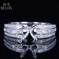 HELON 6mm Round Cut Semi Mount Natural Diamond Ring Solid 14K White Gold Engagement Wedding Ring