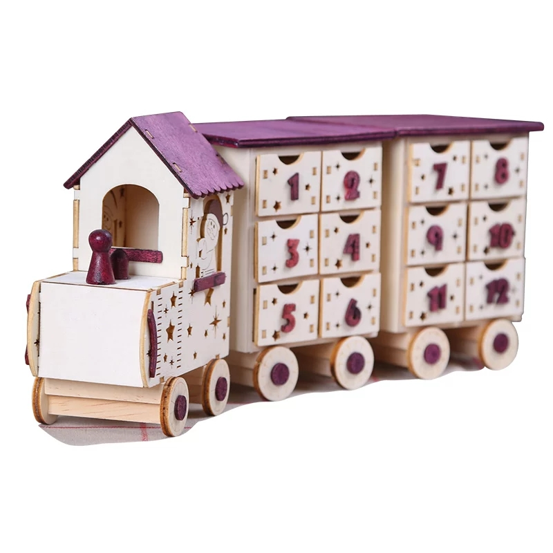 Christmas Advent Calendar Christmas Wooden Train Calendar Cabinet