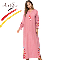 ArtSu Women V Neck Floral Embroidery Red Maxi Dress Tie Neck Tassel Long Sleeve Ethnic Plaid Dress Loose Robe Femme Plus Size