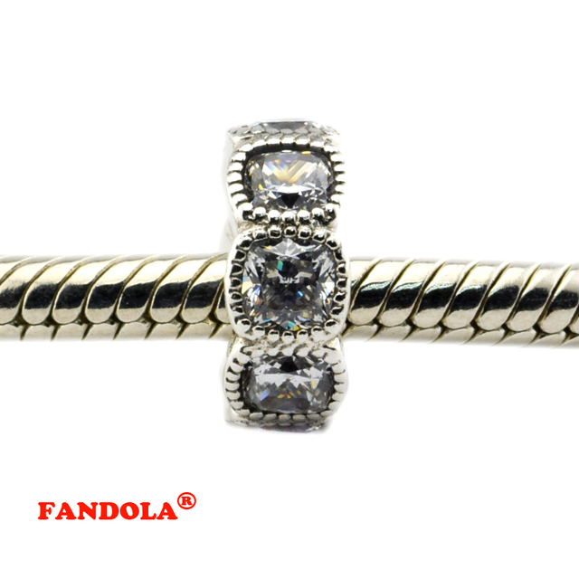 52467f80f Fits for Pandora Bracelets Alluring Cushion Beads with Clear Crystal  Authentic 925 Sterling Silver Jewelry Charms Free Shipping