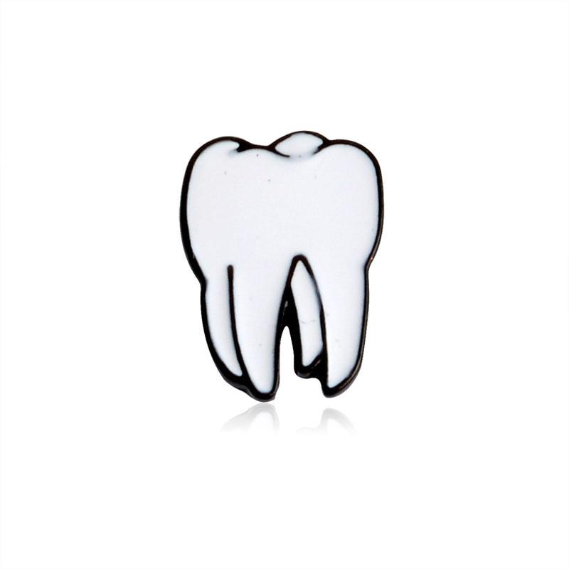 4 Styles Fashion Cartoon Organ Brooch Eyes Hearts Teeth Brain Metal Enamel Pin Clothes Backpack Badge Trendy Jewelry Health Gift
