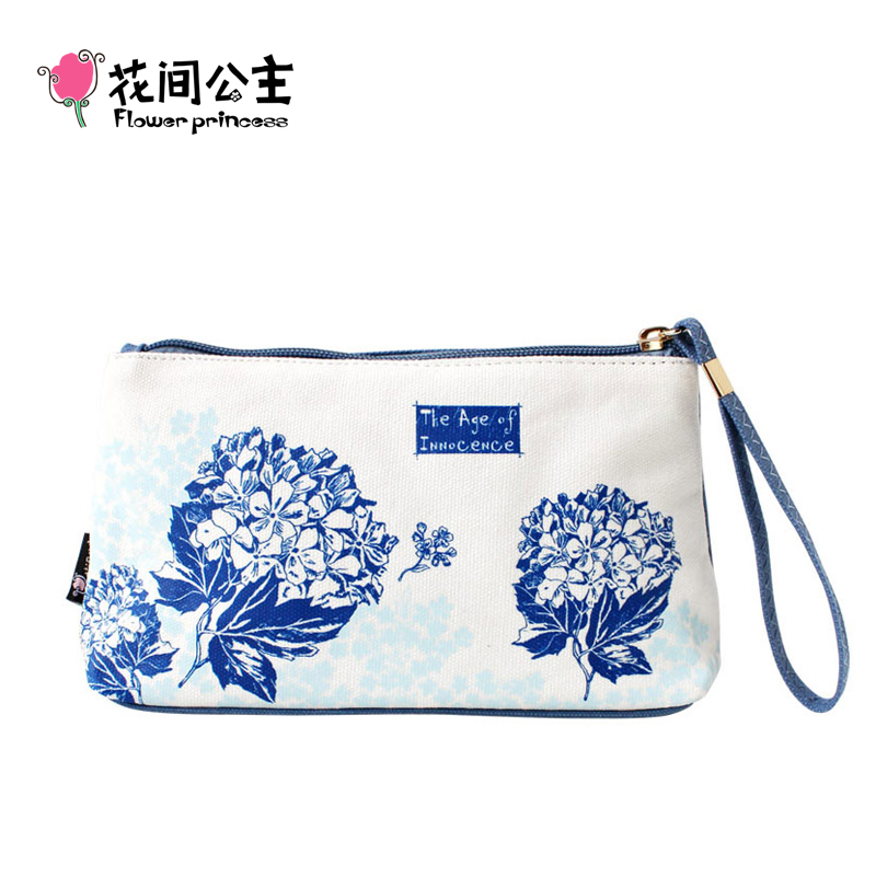 Flor Princesa Marca Mujeres Lienzo Largo Organizador Monedero Chica Moda Bolso de Embrague Monedero de las señoras Handy Bag Girls Coin Cellphone Bag