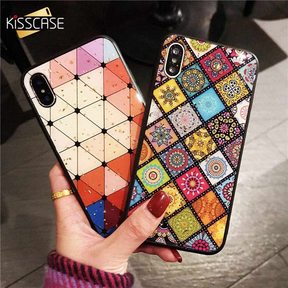 KISSCASE Folk-Multi Color patrón de tela para iPhone XR XS Max X XS para iPhone 7 Plus 8 plus 7 7 6 Plus 6 S
