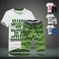 Camiseta gola redonda tamanho extra plus de verão conjunto esporte masculino bermudas calças esportes calças de comprimento até o joelho 5 tamanho M-6G frete grátis coleção 2015
