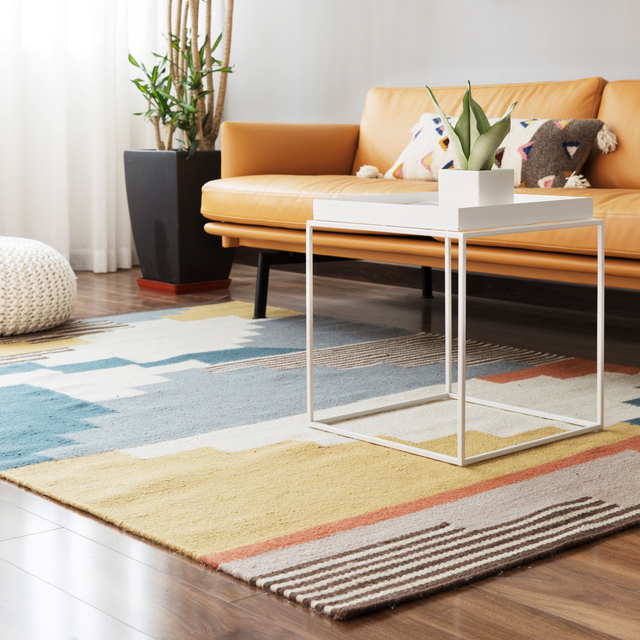 100 laine kilim tapis gomtrique bohme indien tapis salon rose salon plaid ray moderne noir - Tapis Salon Blanc