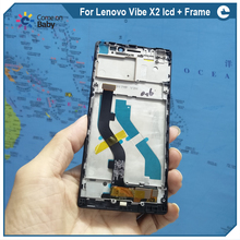 For Lenovo Vibe X2 X2-CU X2-TO LCD Display Touch Screen Top quality Digitizer Assembly with frame  (with free gift) in stock