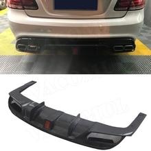 Задний диффузор для губ из углеродного волокна с светодиодный светильник для Mercedes Benz C207 Coupe E200 E260 E300 2 двери- FRP бампер