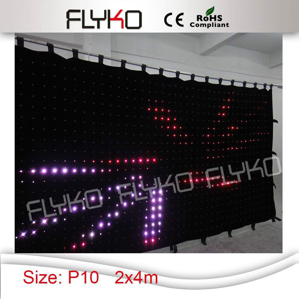 Free shipping, 800pcs lamps,controller P10 2X4M led video curtain