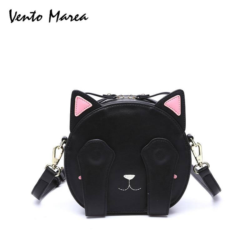 Cat Cross Body Bag Negru de mână Cute Animal circular Bag PU piele - Genți