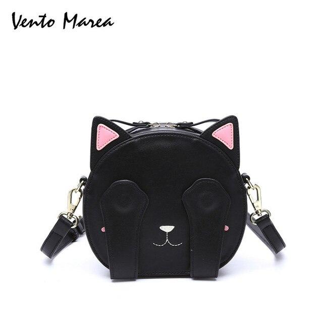 cf0d6b25d01eb0 Cat Cross Body Bag Black Handbag Cute Animal Circular Bag PU Leather Woman  Messenger Bags Embroidery