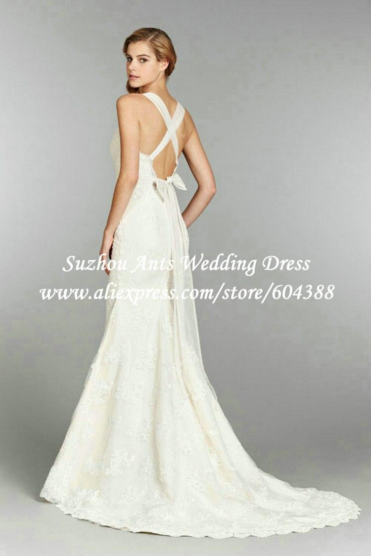Spaghetti Straps Criss Cross Back Bow Sweetheart Lace Wedding Dress ...