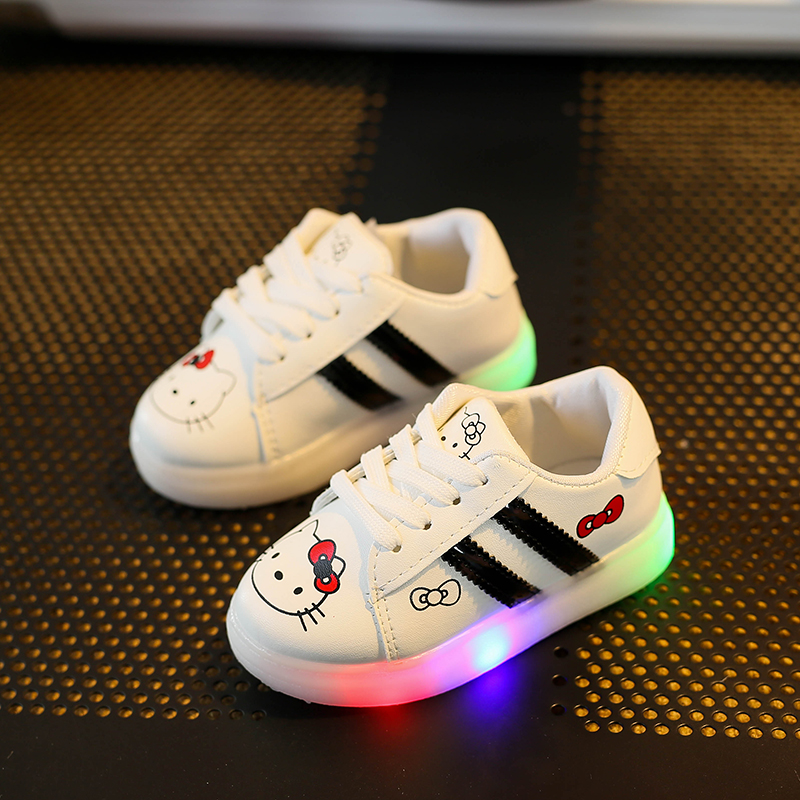 Hot-selling Children Shoes With Light LED Lights Girls Shoes Kids Soft Shoes For Boys Sneakers Chaussure Led Enfant Size 21-30