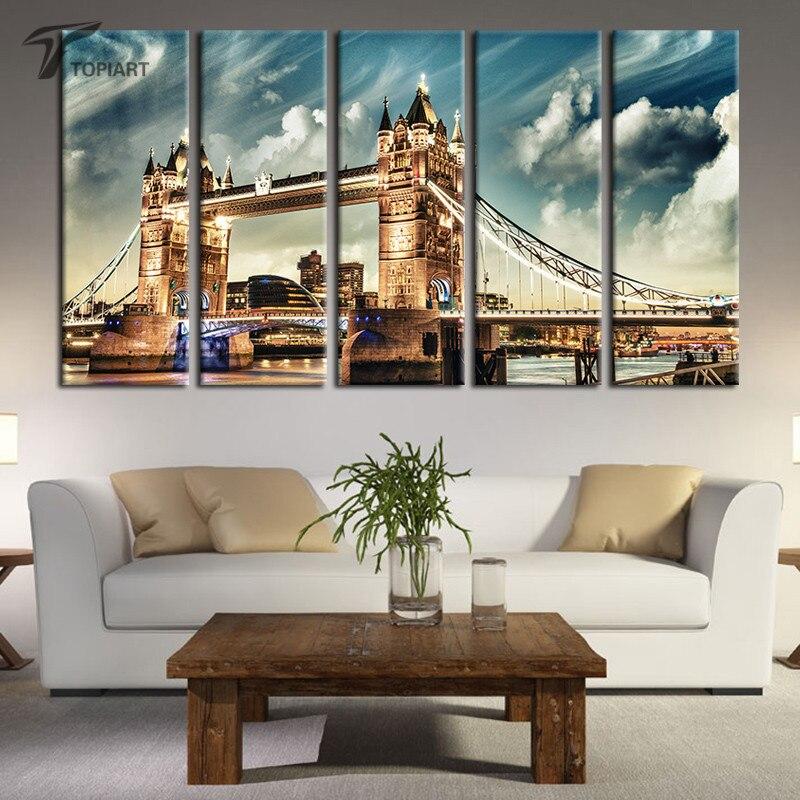 5 Piece Canvas Art Tower Bridge London Wall Paintings Dusk Cityscape Skyline Painting Beautiful Landscape Cloud Prints No Frame