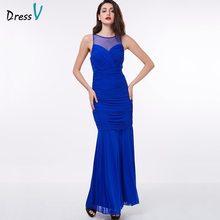6c9855f51 Vestido de noche dressv barato azul real vaina sin mangas piso longitud de uva  vestido de fiesta formal negro vestido de noche l.