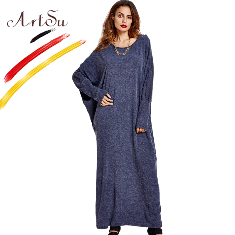 ArtSu Oversized Batwing Sleeve Women's Casual Dress Autumn Winter O-Neck Warm Knitted Long Maxi Dress Black And Blue Loose Robe