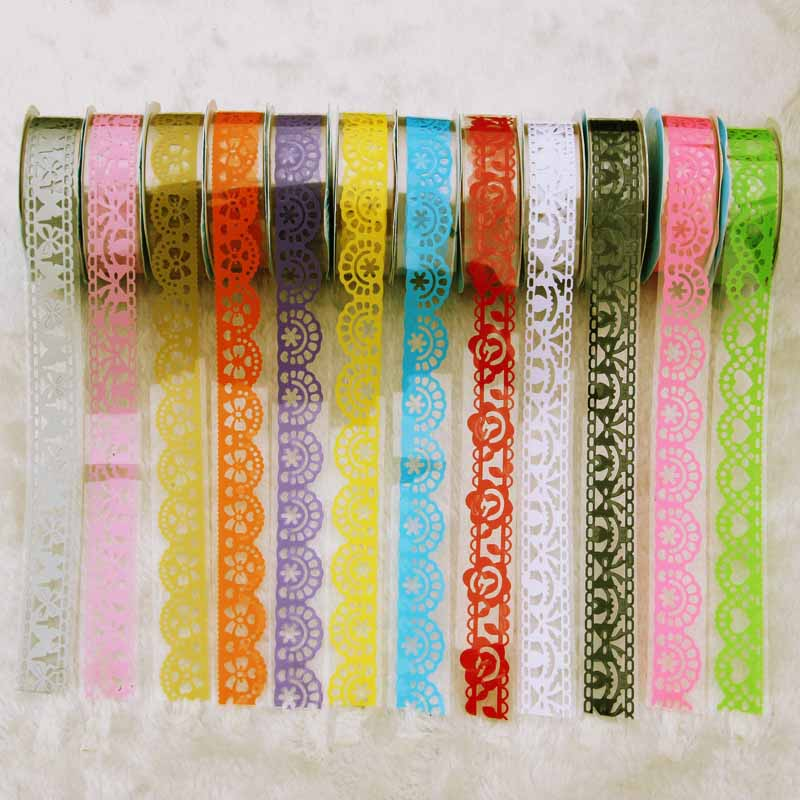 1pcs diy candy colors hot lace tape decoration roll decorative sticky paper masking tape self. Black Bedroom Furniture Sets. Home Design Ideas