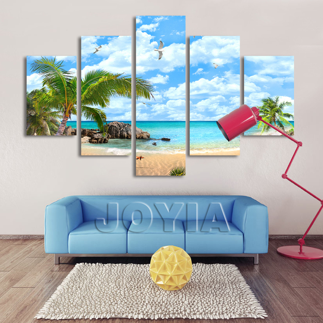 5 Piece Canvas Art Hawaii Seascape Paintings Coconut Trees Palm ...