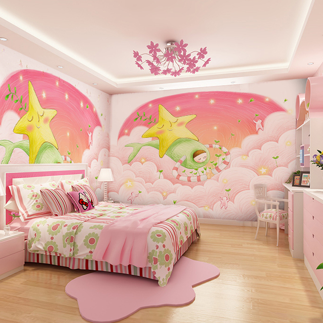 Custom Pink Dream Girl Background 3D Wallpaper Murals Childrens Room Bedroom Cartoon Cute Clouds