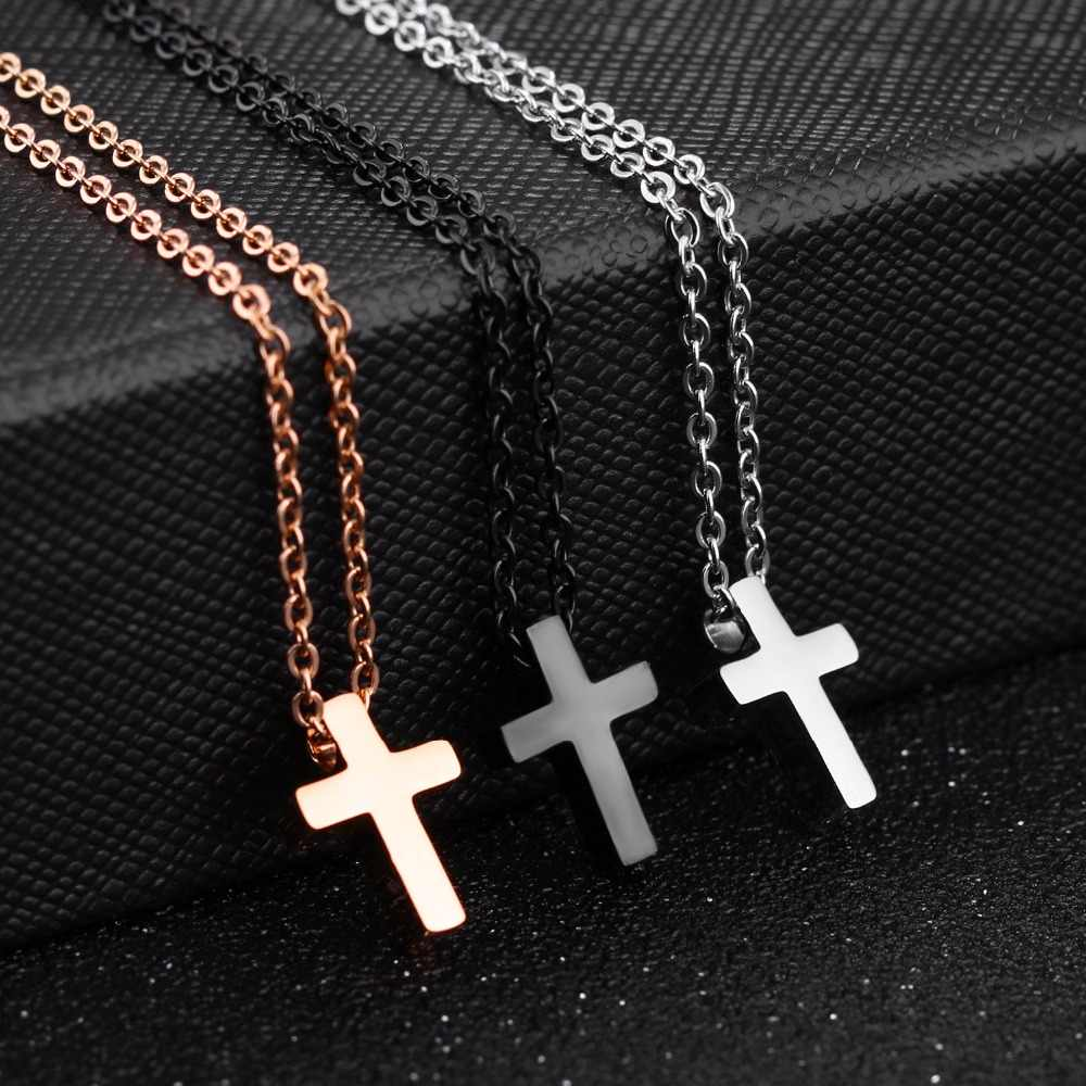 JHSL Brand Mini Small Women Cross Charm Pendant necklace for girls stainless steel Black rose gold color cute fashion Jewelry