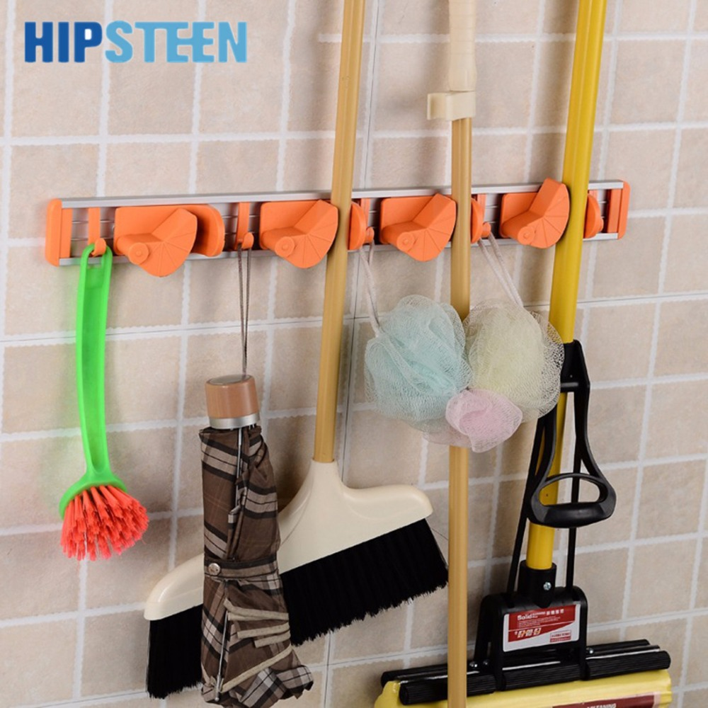HIPSTEEN Wall Mounted For The Kitchen 4 Position 5 Hooks Kitchen Utensil  Broom Mop Holder Organizer