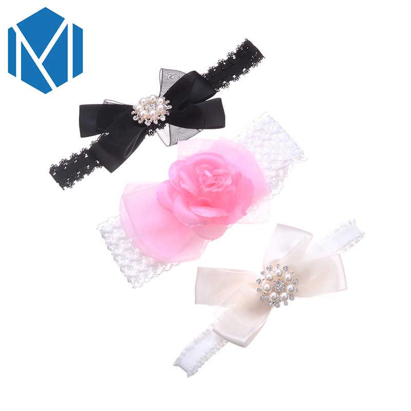 C MISM 3 pcs BB สาวดอกไม้แถบคาดศีรษะยืดหยุ่นน่ารักโบว์ทารกแรกเกิดเด็กผมยืดลูกไม้ Headdress เด็ก Dot hairbands Tie