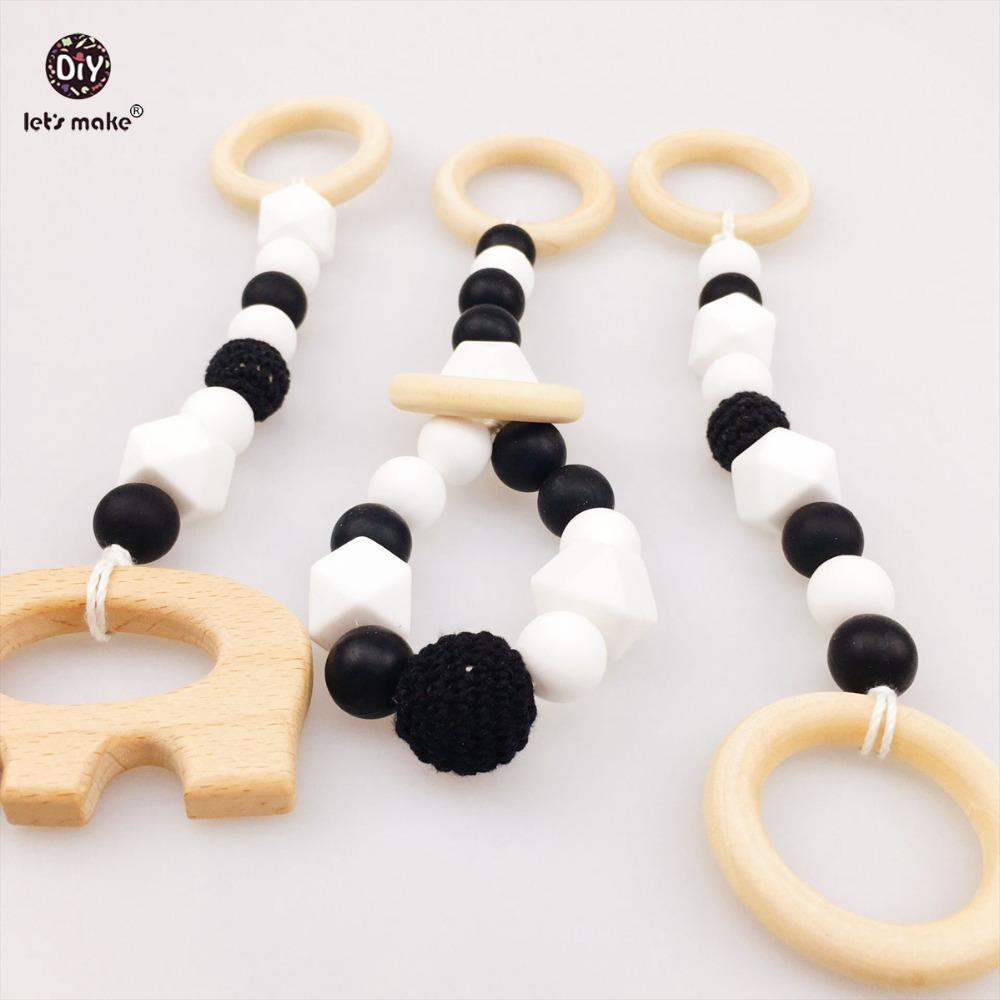 Lets make Baby Teether Nursing Pendants 3pc Chew Silicone Beads Wooden Elephant Food Grade Materials Car Seat Toy DIY Teething
