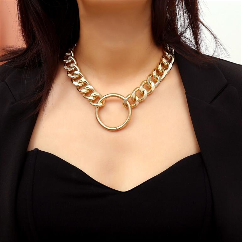 Punk Miami Cuban Choker Necklace Hip Hop Jewelry Trendy Iron Thick Chain Circle Necklace Women Neck Accessories WNW121 in Choker Necklaces from Jewelry Accessories