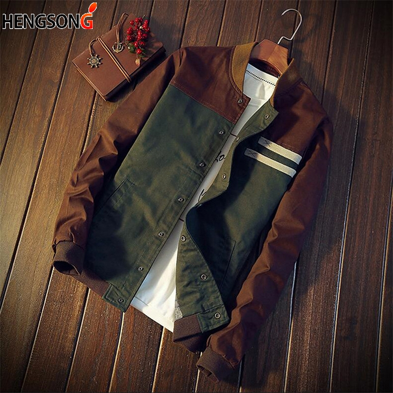 2018 New Korean men's jacket new Cultivate one's morality short paragraph color block collar jacket male baseball uniform M-5XL