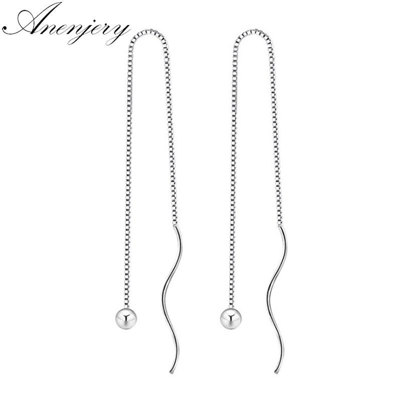 Anenjery Elegant 925 Sterling Silver Long Tassel Drop Earrings Box Chain Beads Ear Chain For Women S-E229