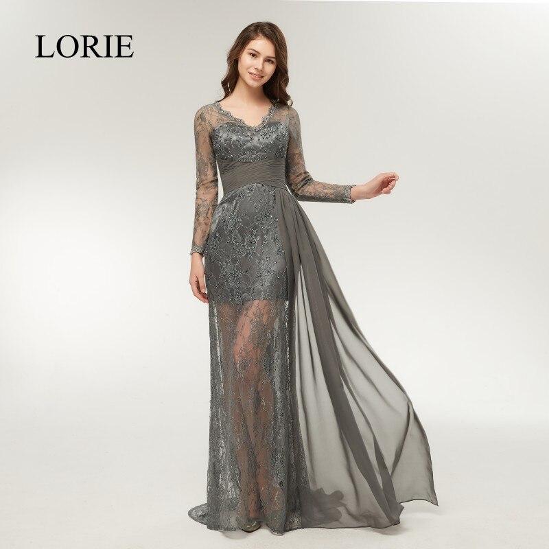 Online-Shop Blake Lively Grau Lace Langarm Abendkleider 2018 ...