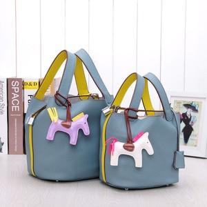 Image 3 - Сумка мешок из воловьей кожи для женщин, сумочка тоут из натуральной воловьей кожи на шнурке, композитные сумки