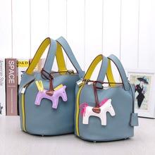 Women Bucket Bags Genuine Leather Handbags  Drawstring Tote Purse Composite Bags