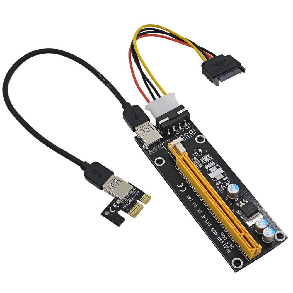 Prix pour 20 PCS 60 CM PCI Express PCI-E 1X à 16X Riser Card Extender avec USB 3.0 Câble de Données + SATA à 4Pin IDE Alimentation Fil