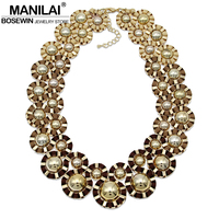 MANILAI Women Handmade Gold Color Balls Woven Chunky Necklace Bohemia Jewelry 2016 New Collares Statement Choker Bib Necklaces