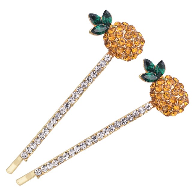 EASYA Simple Fashion Crystal Rhinestone Pineapple Hairgrips Hair  Accessories Women Girls Fruit Pineapple Hairpins Headwear d2f86874986c