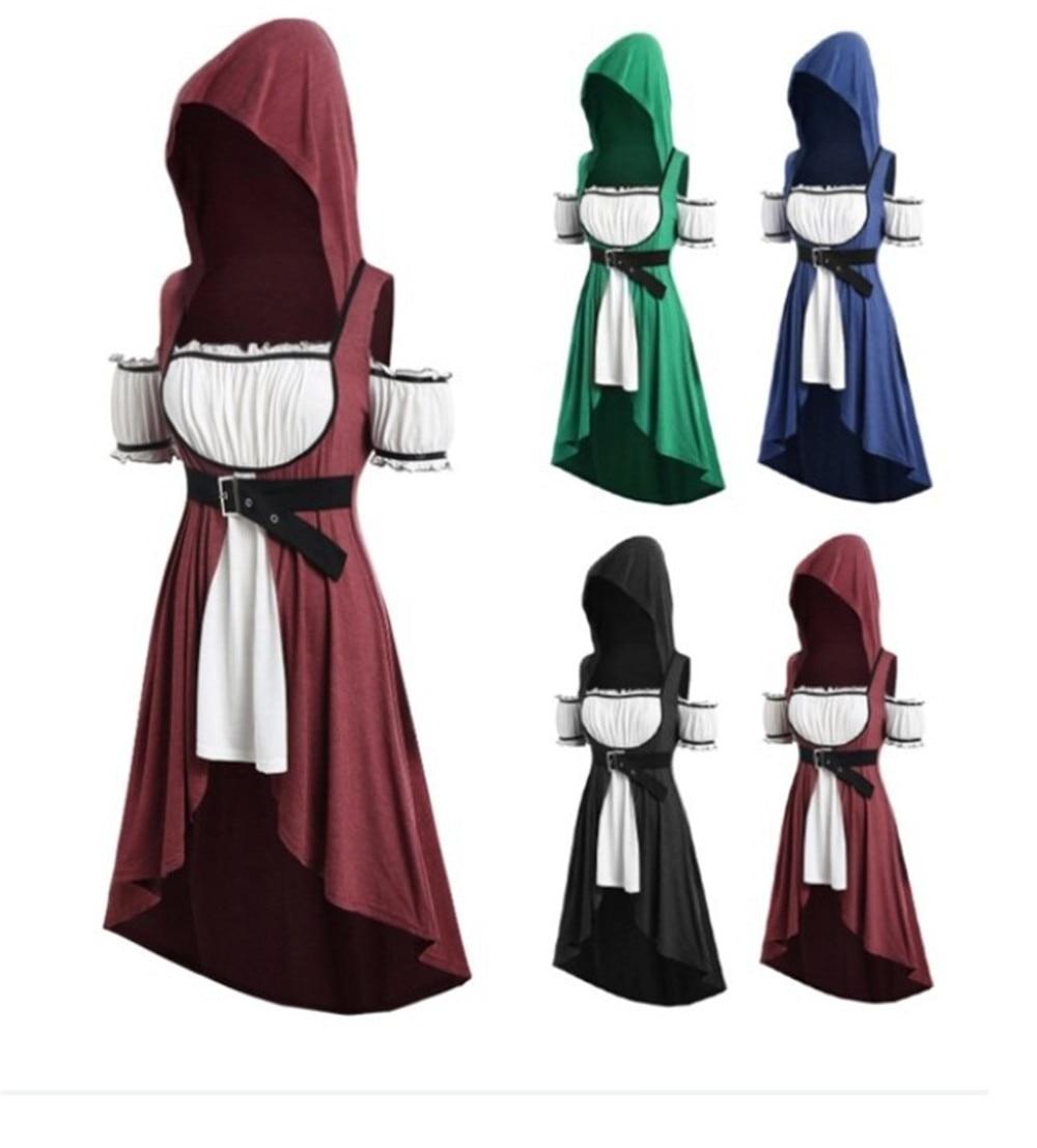 Women Cosplay Costume Skirt Hoodies Belt Maxi-Dress Tunic Renaissance Vintage Short-Sleeve