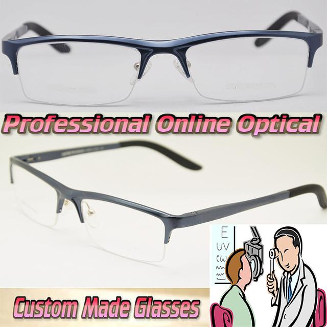 Al Mg liga azul Optical óculos de armação Custom made lentes ópticas óculos de leitura + 1 + 1.5 + 2 + 2.5 + 3 + 3.5 + 4. 0 + 4.5 + 5 + 5.5 + 6
