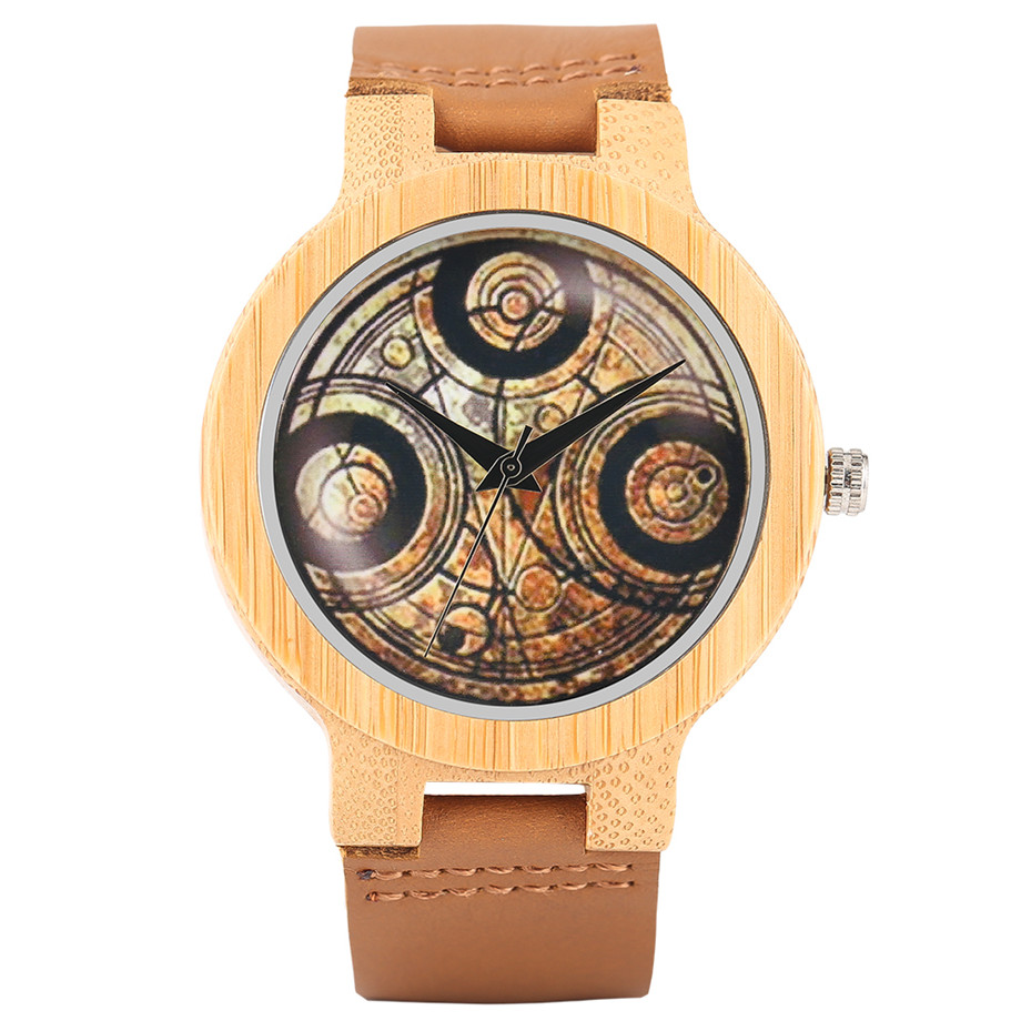 Casual Wooden Watch Dr. Who Ancient Magic Circle Dial Simple Men Women Sport Bamboo Wristwatch TV Fans Clock relogio masculino (1)