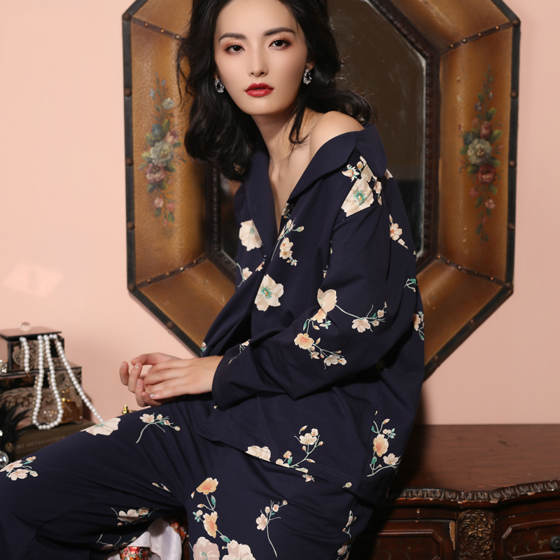 Spring And Autumn 100% Cotton Pyjamas Suit Long-sleeved Loose Two-piece Pajama Set Long Sleeve Printing Sleepwear Home Clothes