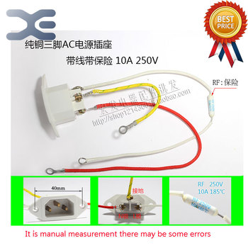 1Pcs AC Power Supply Word Three Socket 10A 250V Word Male Socket With Copper Insurance Long-Term Electric Rice Cooker Socket