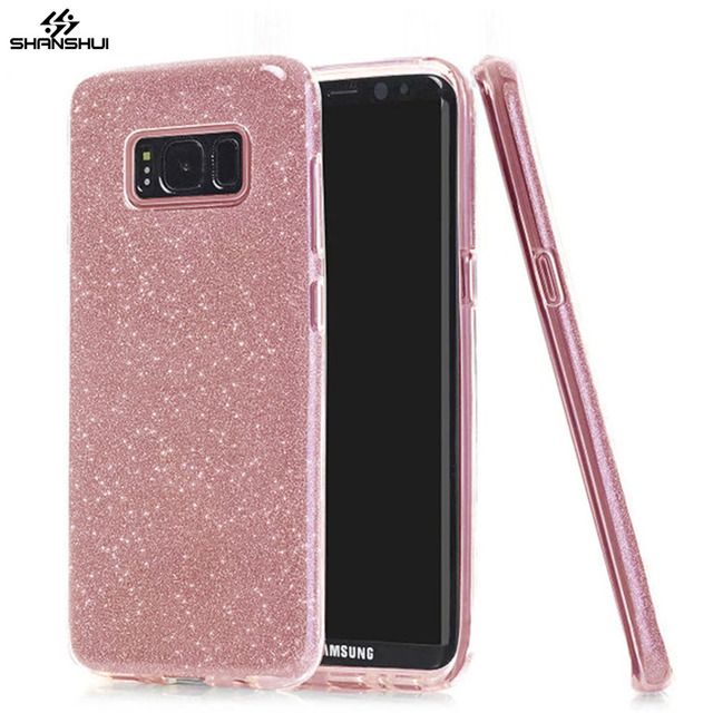 newest 4c3a3 34e01 US $1.83 |Case for SAMSUNG Galaxy S8 S9 plus Glitter Luxury Cute Girl Lady  3 Layer Bling Rose Gold Pink Slilcone Sparkle Cover Phone Coque-in Fitted  ...