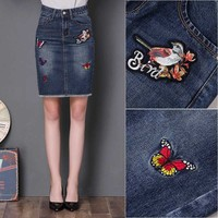 S 4XL Big Size Skirts Denim Saias Girl Jean Skirts Women Stitch Jupe Vintage Blue Saia