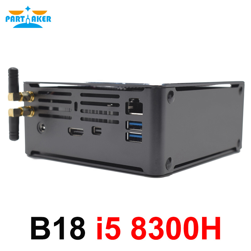 Partaker B18 NUC Intel Core I5 8300H Mini PC 4K Ultra HD 3D Blu Ray Mini PC Windows 10  Pro 2*DDR4 AC Wifi Desktop Computer